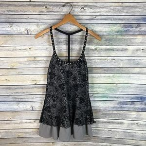 Free People Grey Black Lace Overlay Tank Flawed